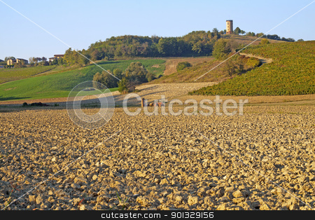 Hills stock photo, View of fields and hills, under the blue sky by Fabio Alcini