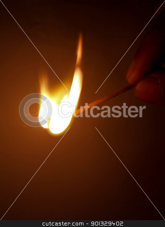 Matchstick. stock photo, A burning matchstick just as it burst into flame. by indonesian image