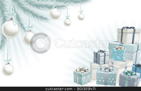 Christmas silver blue corner elements stock vector clipart, Christmas silver blue corner background elements. Christmas tree, balls and gifts. Corners can be moved for more space in centre by Christos Georghiou