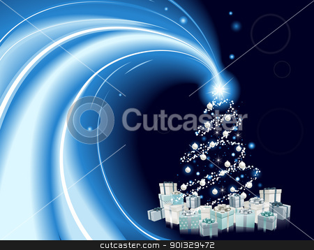 Modern style Christmas tree background stock vector clipart, Modern style Christmas tree background. Blue and silver Christmas tree with star, baubles and gifts.  by Christos Georghiou