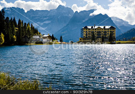 Lago di Dobiacco stock photo, Lago Misurina, Misurina lake in Dolomite Alps, Italy, Europe by Val Thoermer