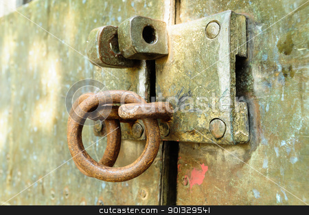 unlock on an old door  stock photo, unlock on an old door by kowit sitthi