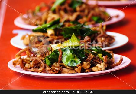 Thai Esan Food stock photo, Thai Esan Food ,Fried Chicken intestine by kowit sitthi