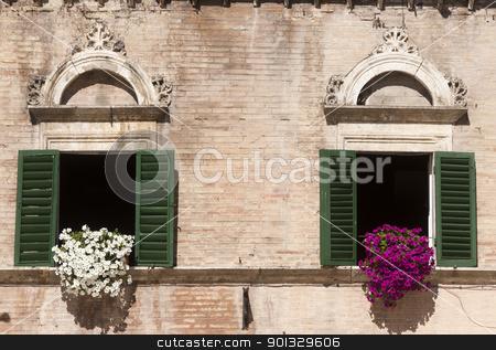 Ascoli Piceno (Italy): Piazza del Popolo, historic buildings, tw stock photo, Ascoli Piceno (Italy): Piazza del Popolo, historic buildings, two windows by clodio