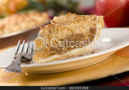 Apple Pie Slice with Crumb Topping stock photo, Apple Pie Slice with Crumb Topping and Fork. by Andy Dean