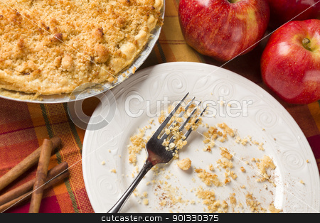 Overhead Abstract of Apple Pie, Empty Plate and Crumbs stock photo, Overhead Abstract of Apple Pie, Empty Plate with Remaining Crumbs and Fork. by Andy Dean
