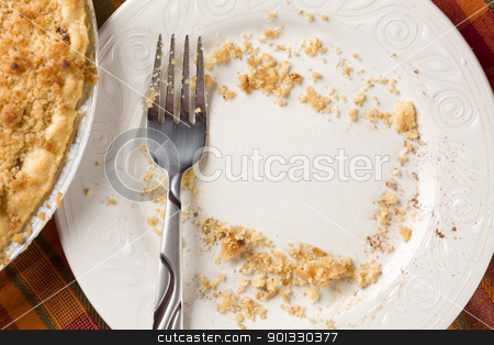 Overhead of Pie, Fork and Copy Spaced Crumbs on Plate stock photo, Overhead Abstract of Pie, Empty Plate with Remaining Crumbs Cleared Into Rectangular Copy Room Space and Fork - Ready for Your Own Message. by Andy Dean