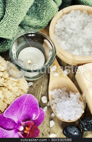 Spa Settings stock photo, Spa Settings (zen stones, candle, towel, sea salt, soap and orchid)  by klenova