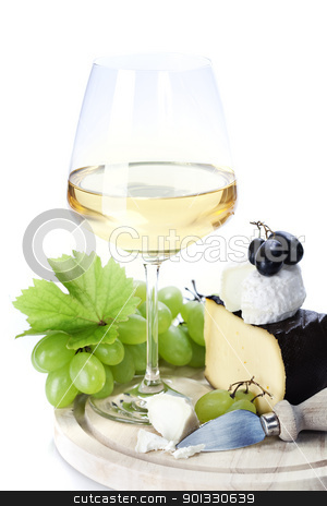 white wine and cheese  stock photo, white wine and cheese over white   by klenova