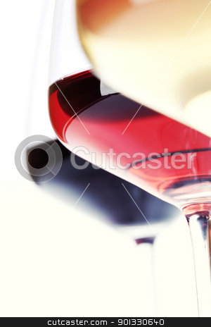 Wine stock photo, Three glass of wine (white, red and rose) over white by klenova