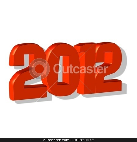 New year 2012, 3D text  stock photo, New year 2012, 3D text  by Evgeniy Krivoruchko