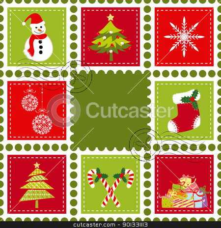 Set of Christmas stamp postage stock vector clipart, Sets of colorful Christmas stamp postage on green background by meikis