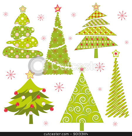 Set of Christmas tree stock vector clipart, Abstract set of colorful Christmas trees by meikis