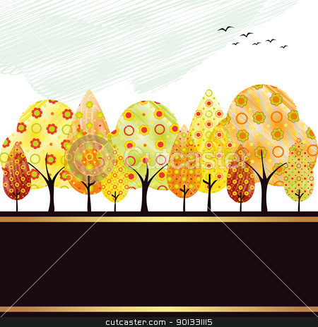 Abstract autumn tree greeting card stock vector clipart, Abstract colorful autumn tree and bird greeting card by meikis