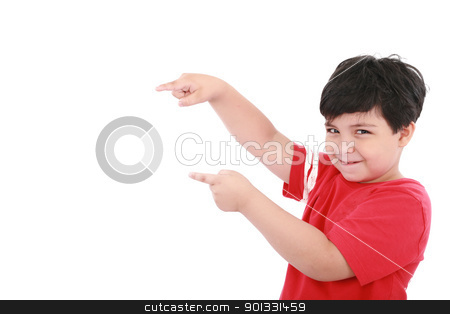 A little boy points at something, boy presents something  stock photo, A little boy points at something, boy presents something  by dacasdo