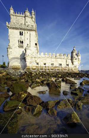 Belem Tower stock photo, Tower of Belem (Torre de Belem ) in evening. Lisbon, Portugal.  by vwalakte