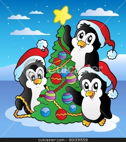 christmas scene with three penguins stock vector