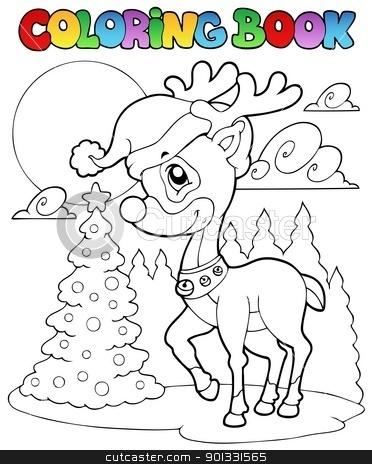 Coloring book Christmas deer 1 stock vector clipart, Coloring book Christmas deer 1 - vector illustration. by Klara Viskova