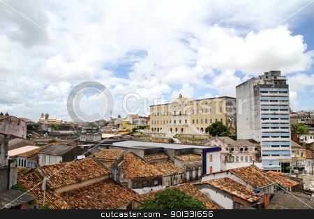 View over Salvador de Bahia stock photo, Historic Buildings in Salvador, Bahia, Brazil, South america. by Michael Osterrieder