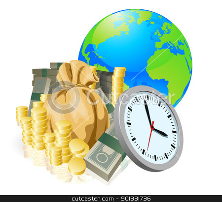 World globe money time business concept stock vector clipart, World globe money time business concept. Time is money, international business concept. by Christos Georghiou