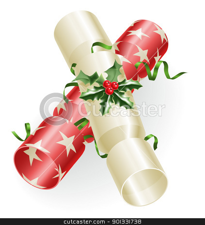 Christmas crackers stock vector clipart, An illustration of Christmas crackers with holly and ribbons  by Christos Georghiou