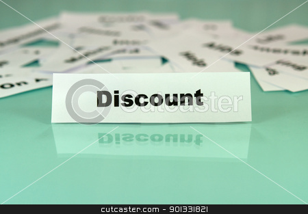 Discount stock photo, Piece of paper with discount word,text or sign on it by borojoint