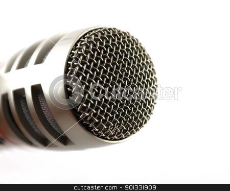 Microphone over white. Closeup stock photo, Microphone over white. Closeup. Shallow DOF. by Sergei Devyatkin