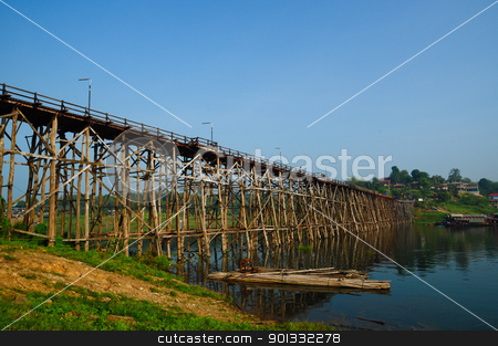 Wooden bridge in thailand stock photo, Wooden bridge in thailand by kowit sitthi
