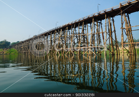 Wooden bridge in thailand stock photo, Wooden bridge in thailand by kowit sitthi
