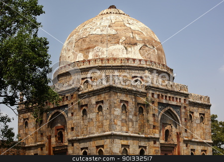 Bara Gumbad Tomb Lodi Gardens New Delhi India stock photo, Large Ancient Dome Bara Gumbad Tomb Lodi Gardens New Delhi India Tomb of Significant Figure in Lodi Period by William Perry