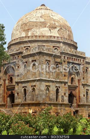 Bara Gumbad Tomb Lodi Gardens New Delhi India stock photo, Large Ancient Dome Bara Gumbad Tomb Lodi Gardens New Delhi India by William Perry
