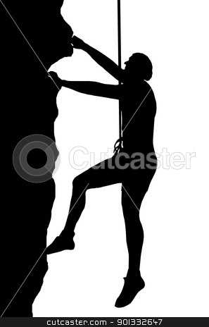 Abseiling Man stock vector clipart, Isolated Image of a Male Abseiler Climbing a Rock Face by Snap2Art