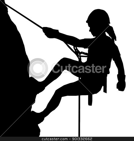 Abseiling Lady stock vector clipart, Isolated Image of a Female Abseiler Climbing a Rock Face by Snap2Art