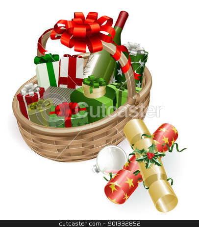 Christmas basket illustration stock vector clipart, A Christmas basket with wine, gifts, crackers and ball bauble decoration by Christos Georghiou