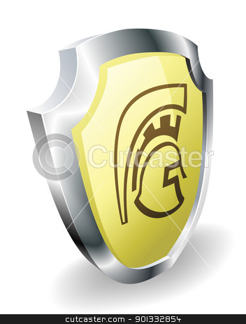 Spartan helmet shield security concept stock vector clipart, A Spartan, Trojan, or Roman shield security concept. Shield with helmet icon. by Christos Georghiou