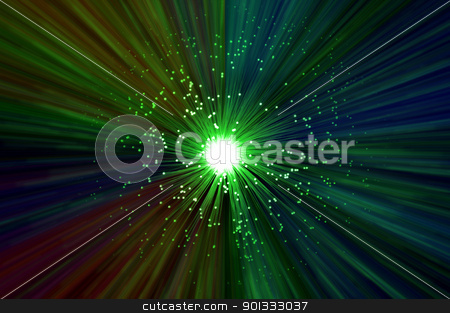 Fiber optic abstract concept. stock photo, The ends of many illuminated green fibre optic strands emitting a multicoloured light blur effect from the centre against a dark background. by Samantha Craddock
