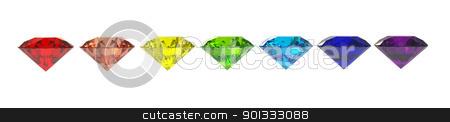 Diamonds stock photo, Seven diamonds in colors of rainbow 3d render isolated on white by Borislav Marinic