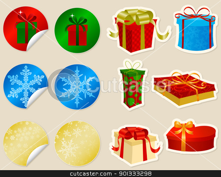 Christmas Presents stock vector clipart, Twelve Christmas presents stickers set. by wingedcats