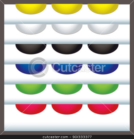 Tab elements web stock vector clipart, Colourful web tabs with white background and shadow by Michael Travers