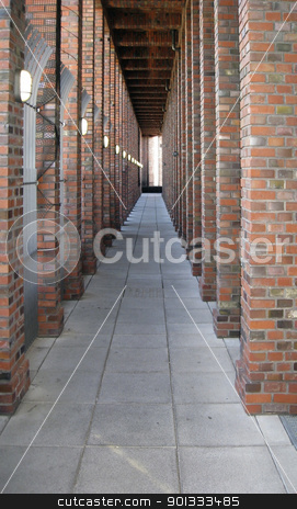 brick stone arcade stock photo, architectural detail in Berlin showing a arcade seamed by brick stone columns (Germany) by prill