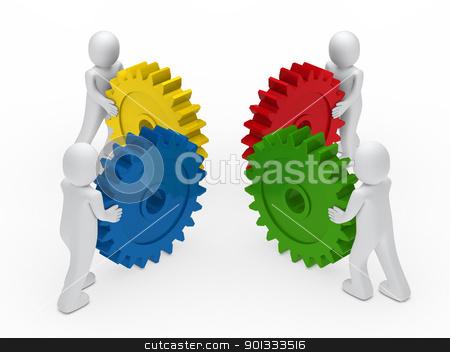3d business man push gear stock photo, 3d business men push a gear colorful by d3images