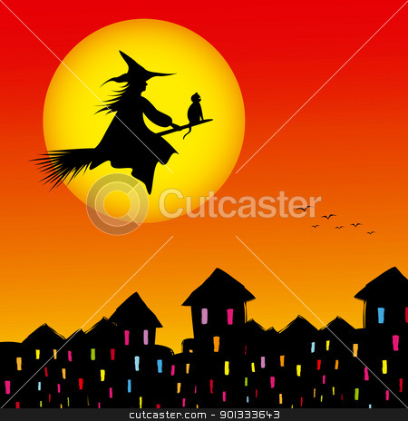 Halloween background silhouette of a witch flying in a broom stock vector clipart, Halloween background silhouette of a witch flying in a broom by meikis