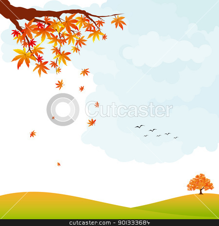 Autumn landscape colorful maple leaf and tree stock vector clipart, Autumn landscape colorful maple leaf and tree by meikis