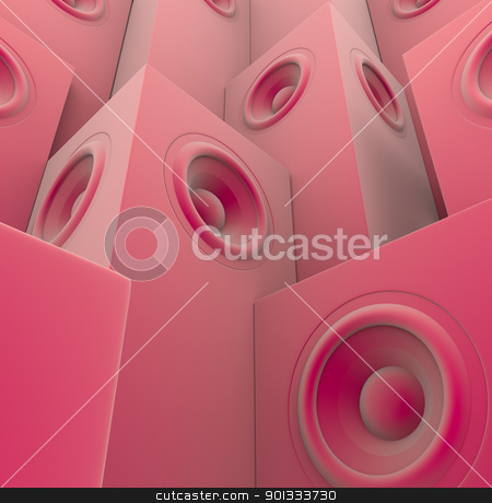 soft pink 3d render of grouped sound-system deejay dj set stock photo, soft pink 3d render of grouped sound-system deejay dj set by johnjohnson