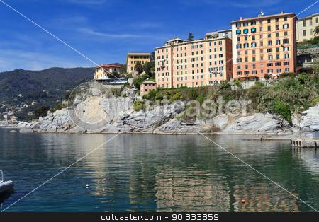 homes surrounding the sea  stock photo, typical homes over the sea in Camogli, small town in Mediterranean sea, Italy by ANTONIO SCARPI