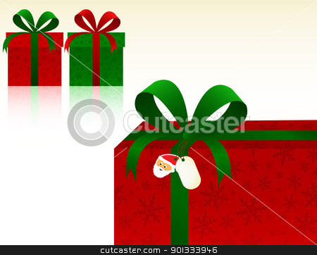Christmas Presents stock vector clipart, Christmas Presents with snowflakes wrapping paper. by wingedcats