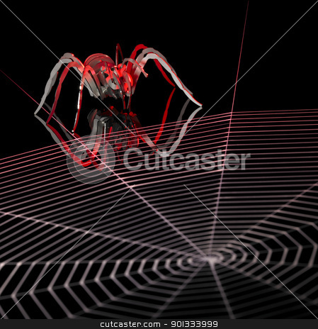 lurking metallic spider stock photo, symbolic picture with artificial metallic spider and painted cobweb in dark back, orange illuminated by prill