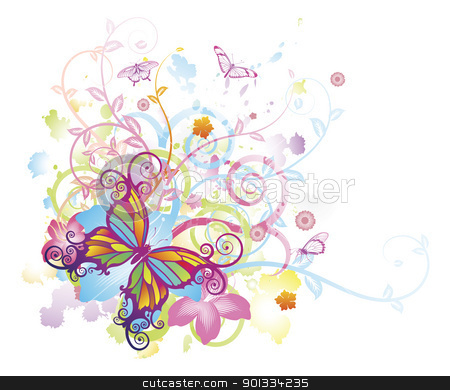 Abstract butterfly floral background stock vector clipart, Abstract colourful butterfly background with stylised floral elements, patterns and splashes by Christos Georghiou