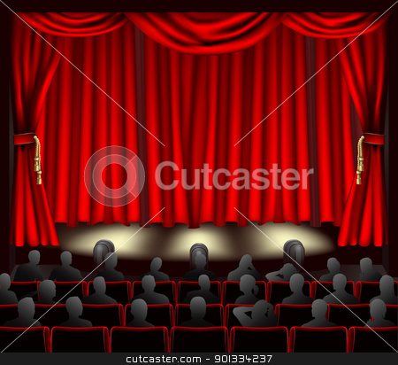 Theatre with audience stock vector clipart, Illustration of theatre with curtains and audience.  by Christos Georghiou