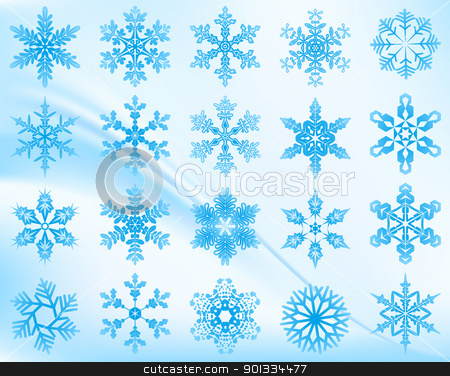 Snowflakes set stock vector clipart, Snowflakes set with soft background. by wingedcats